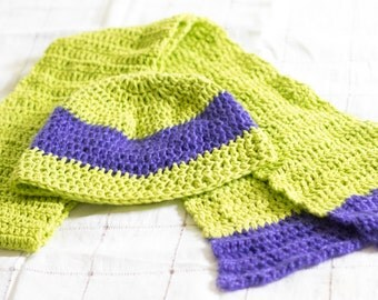 Cute Green and Purple Hat and Scarf Set