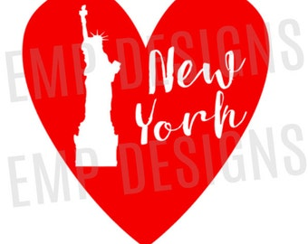New York Decal, I love New York Decal, Statue of Liberty Decal, Yeti Decal, New York Laptop Decal