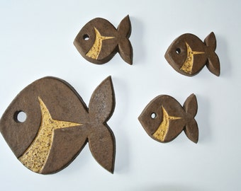Vintage ceramic fish figures 1970's De Schuur Dutch ceramics wall plaque