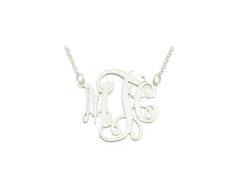 "Mono110w -  White Rhodium 1"" Sterling Silver Elegant Monogram Necklace"