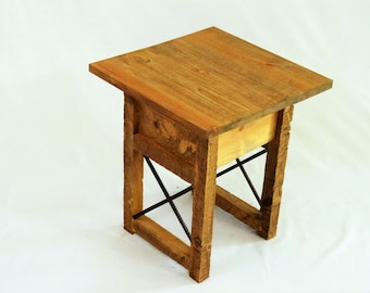 rustic end table x