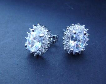 4 ct Oval Cut Halo Earrings, Man Made Diamond Simulants, Bridal earring, Prom earrings, 18k White Gold, AAA