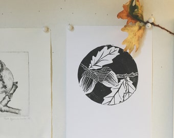 Woodland collection - Acorns : handprinted and handmade original print
