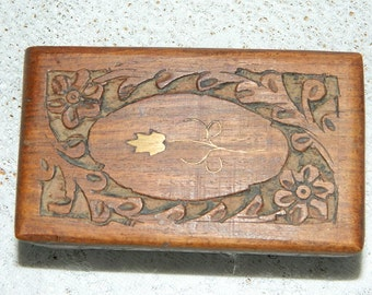 old small box carved camphor wood, Sweet engraved wooden box.   5
