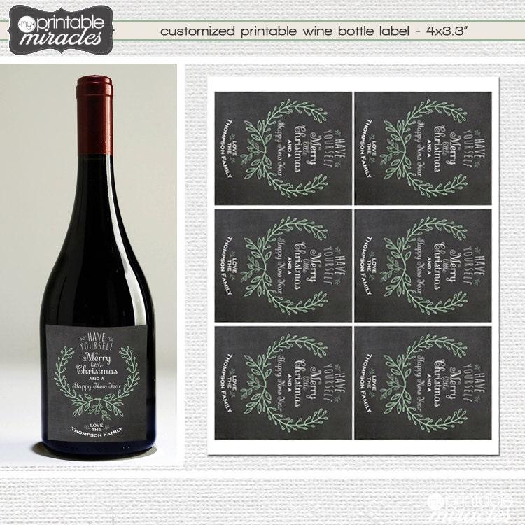Printable Wine Bottle Labels: Printable Christmas Wine Bottle Label Wine Tags
