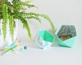 Origami boxes by two Scandinavian green and white geometric patterns