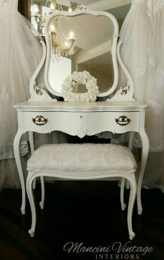 Sold Rare Antique Ladies Makeup Table Vanity Ivory White