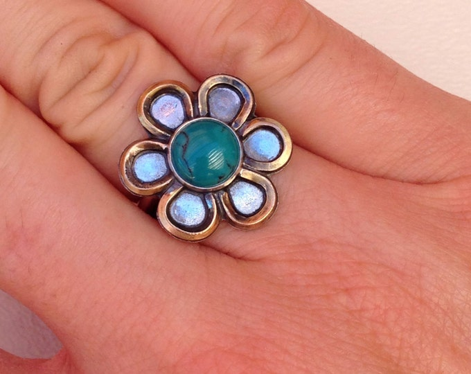 Turquoise flower ring using sterling silver and 14k gold fill handmade size 5 3/4