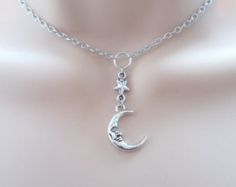 silver moon choker necklace - silver choker - moon and star necklace - chain choker - gift for her