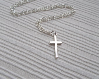 silver cross necklace simple jewellery silver necklace gift for women accessories cross jewellery simple necklace cross charm necklace