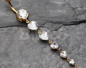 Golden Enchanting Heart Cascade Belly Ring