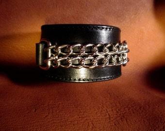 Custom Black Leather wrist cuff with dbl. chain, adjustable size.