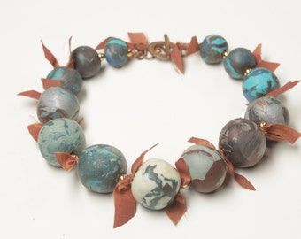 Clay and silk Necklace