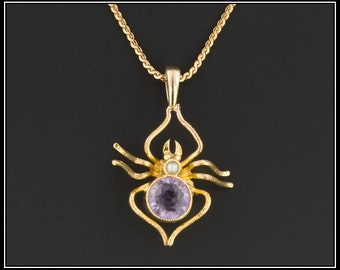 Amethyst Spider Necklace | 14k Gold Spider Necklace | Antique Pin Conversion Necklace |Goth Necklace