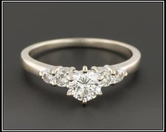 Vintage Engagement Ring | Diamond Engagement Ring | 14k White Gold Engagement Ring | White Gold Ring | Vintage Ring