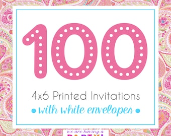 100, 4x6 Invitations with White Envelopes