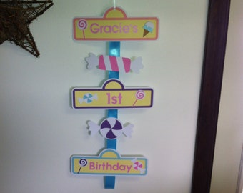 CandyLand door hanger sign