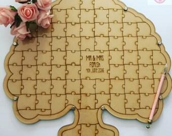 Tree shape wedding jigsaw guest book, wedding puzzle guest book, alternative wooden guest book