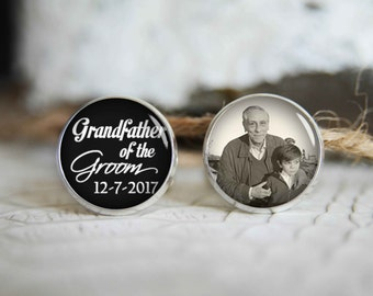 Grandfather of the groom personalized photo cufflinks, cool gifts for men, custom wedding silver plated or black cuff link