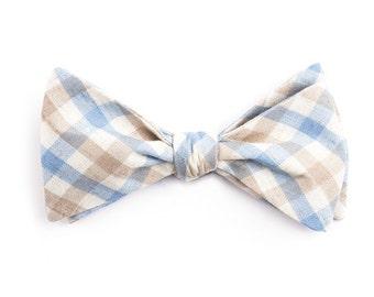 Light Blue & Brown Plaid Bow Tie