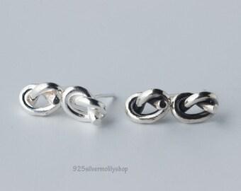 Women 925 Solid Sterling Silver  Sweet Knot Earrings