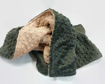 Minky Baby Blanket - Hunter Green and Tan