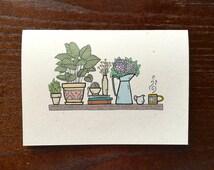 Plant Note Card Set, Handmade Stationery Set, Set of 10 Plant Cards, Succulent Card