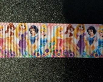 "7/8"" Princess Cinderella, Snow White, Belle, etc. Inspired Grosgrain Ribbon"