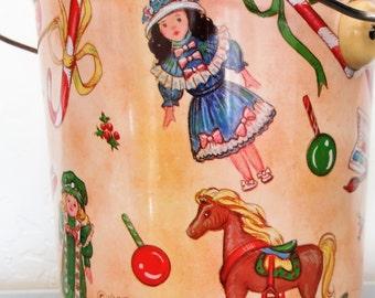 Vintage  1985 Marjorie Sarnat Christmas Pail Tin/ Rocking Horse/Dolls/ Candy Canes/Paint Set