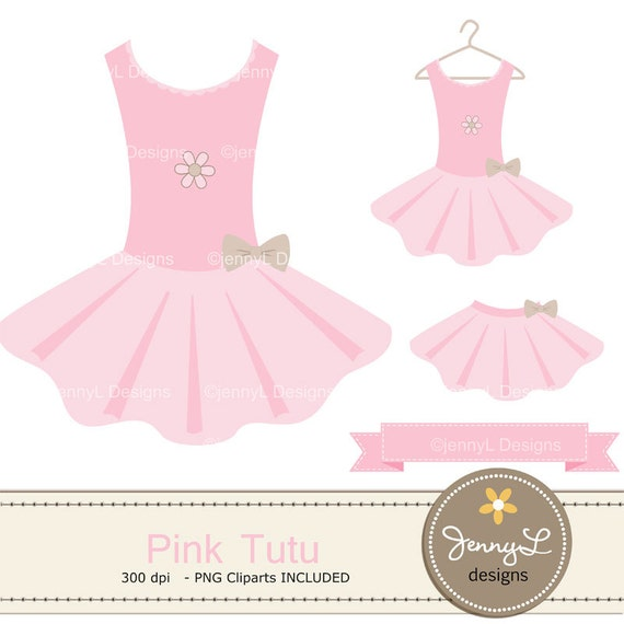 Pink Tutu Baby Shower Digital Papers and Tutu Dress ClipartPink Tutu Baby Clipart