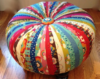 OOAK Tuffet Footstool Completed Finished and Ready to Use Flying Colors Rainbow by Momo Forest Clover 33060 11 by Momo