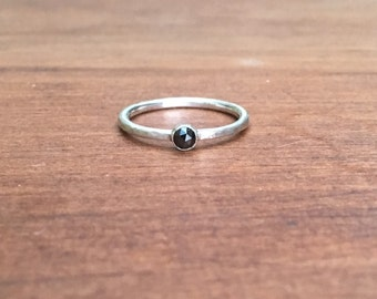 Black Diamond Ring, Black Diamond Sterling Silver or Gold Ring