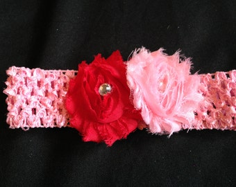 pink & red flowers on infant headband