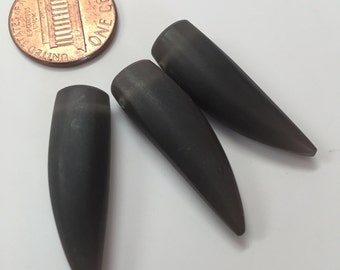 Matte Black Frosted Resin Fang (Tooth) Beads TWENTY BEADS
