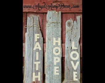 Repurposed barnwood signs with burlap letters! Set of 3