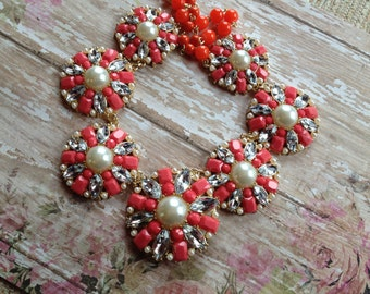 Orange Statement Necklace, Orange Necklace, Statement Necklace, Beaded Necklace, Beadwork Necklace, Gift For Her