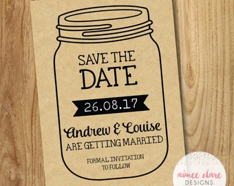 Rustic Kraft Mason Jar Save The Date