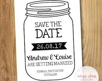 Rustic Mason Jar Save The Date