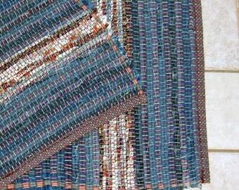 "Rag Rug #346 blue jean rug 26"" x 36"""