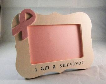 Breast cancer survivor gift, i am a survivor picture frame breast cancer ribbon gifts