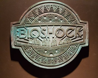 Bioshock inspired plaque with aged finish