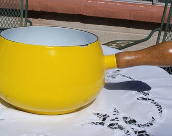 Vintage Yellow Enamel Saucepan with Wood Handle