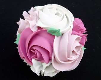 Lovely Pink Rosette Fake Cupcake