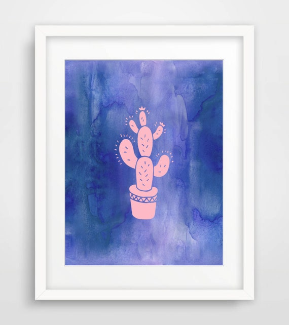 Wall Art Prints Download : Cactus print printable art blue wall watercolor