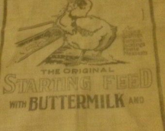 Vintage Cloth Feed sack Chicken Feed Buttermilk