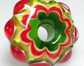Handmade Glass Bead - A Jolly Christmas Mandala Handmade Glass Bead