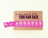 Pink Flamingo Bachelorette Hair Tie Favor | Flamingo Bachelorette Hair Tie Favors, Pink + Gold Flamingo Bachelorette Party Hair Tie Favor