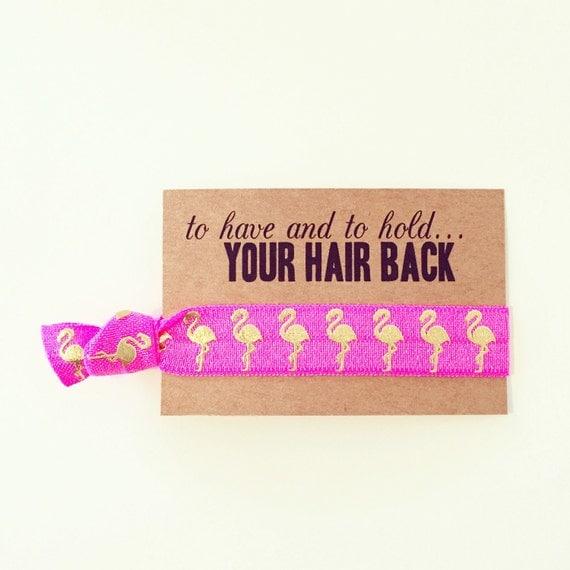 Pink Flamingo Bachelorette Hair Tie Favor   Flamingo Bachelorette Hair Tie Favors, Pink + Gold Flamingo Bachelorette Party Hair Tie Favor
