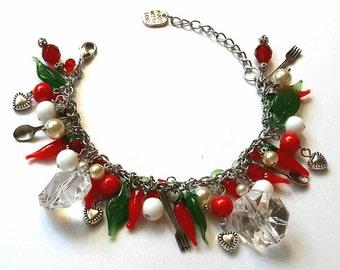 Red Chilli Peppers Charmed Bracelet