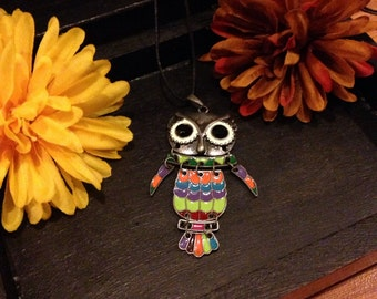 Colorful autumn owl necklace